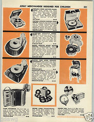 1957 Paper Ad Mickey Mouse Phonograph American Flyer Electric Train Sets Chief