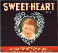 Original Sweet-heart Baby Child Highgrove Orange Crate Label Not A Color Copy