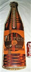 Antique Hires Root Beer Soda Metal Usa Advertising Thermometer Bottle Cap Sign