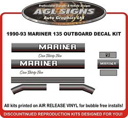 1990 1991 1992 1993 Mercury Mariner 135 Hp Reproduction Outboard Decal Kit 150