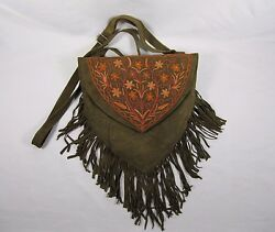 Olive kid Leather Fringe Bag Boho Hippie Gypsy Purse bag orange stitched flowers