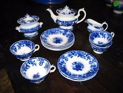 Antique Flow Blue Childand039s Toy Tea Set Basket C1850