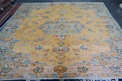 Vintage Turkish Sivas Yellow Area Rug Hand Knotted Wool 10and0390 X 13and039-9 Medallion