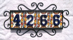 4 Blue Mexican Tiles House Numbers High Relief And Horizontal Frame