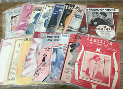 1920's Vintage Sheet Music Lot 95 Pieces In Plastic Antique Ephemera Some As Is