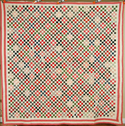 Outstanding Vintage 1880and039s 9-patch Antique Quilt 3600 Postage Stamp Pieces