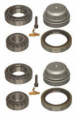 2 Skf Left+right Front Wheel Bearing Kits W/ Grease Cap Set For Mercedes W126