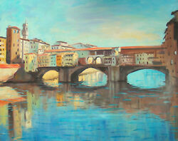 Listed Nino Pippa Oil Painting Forence Ponte Vecchio Seago Interest 24x30 Coa