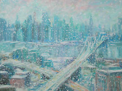 Listed Artist 18x24 Original Stunning Oil Ny Usa Cityscape Sargent Interest