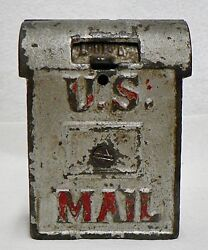 Vintage Cast Iron Silver Color U. S. Mail Box Coin Bank