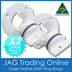 2 X Aquatrack Large White Complete Drain Bung Plugs And Bases - Boat Bungs Coarse