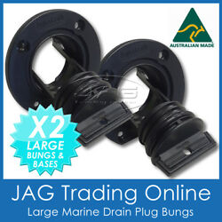 2 X Aquatrack Large Black Complete Drain Bung Plugs And Bases - Boat Bungs Coarse