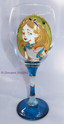 Alice In Wonderland Wine Gin Beer Glass Fairy Tale Gift Unique Hand Painted