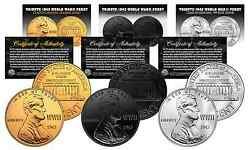 Tribute 1943 Wwii Steel Penny Coins 3 Versions Black Ruthenium 24k Gold And Siver