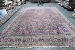 Antique Vintage Turkish Oushak Sivas Rug Wool Hand Knotted 10and0392 X 13and0399 Rug