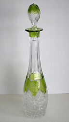 Vintage Baccarat Lime Peridot Cased Cut Clear Crystal Decanter