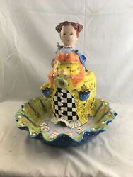 Orig. Ambrosia Bee's Knees Porcelain Pottery Mother Nature Fountain Linda Aubry