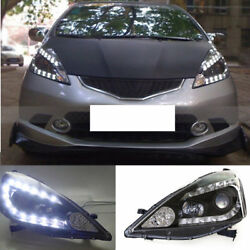 For Honda Fit 2009-12 Auto Composite Headlight U Shaped LED High+Low Beam Lens