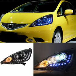 For Honda Fit 2009-2012 Auto Headlight Blue LED DRL High+Low Beam Ballast Lens