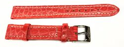 Authentic Breitling Red Orange Croco Leather Strap Tang Buckle Ss 15/14mm