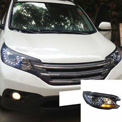 Front Headlight Turn Signal Lamps High+Low Beam Lens SMD For Honda CR-V 2012-14