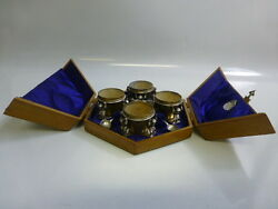 Antique Set Of 4 Silverplate Figural Salt Cellars And Spoons In Fitted Wooden Case