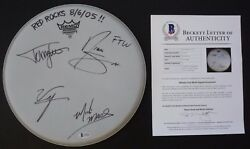 Motley Crue All 4 Band Signed Autographed Beckett Bas Certified 12 Drumhead