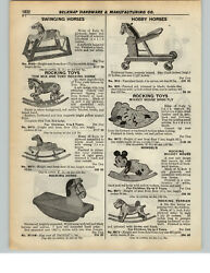1937 PAPER AD Mickey Mouse Rocking Horse Toy Shoofly Mengel Terrier Dog Tom Mix