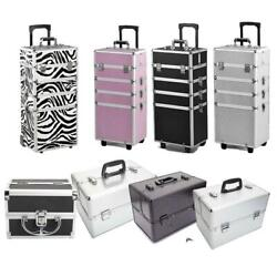 Aluminum 4 in1 Rolling Makeup Trolley Train Case Box Organizer Salon Cosmetic $85.83