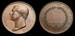 Switzerland 1855 James Fazy Bronze Medal Issued By A. Bovy Unc 40mm 33g