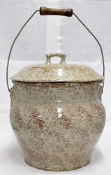 Red Wing Pottery Brown Spongeware Chamber Pot With Lid