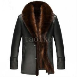 Mens 100% Mink Fur Lining Thicken Leather Winter Warm Parka Trench Jacket Coats