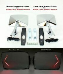 73-91 Chevy Gmc Truck Square Led Turn Signal Outside Rearview Door Mirrors Pair