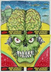 Mars Attacks The Revenge [2017] 4 Piece Puzzle Sketch Card By Kone