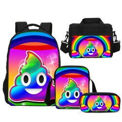 Raibow Poop Poo Emoji for Kids BackpackCross-bodyLunch BagPen Bag Wholesale