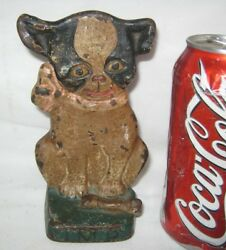 ANTIQUE HUBLEY G. DRAYTON BOSTON TERRIER IMP CAST IRON BONE DOG STATUE DOORSTOP