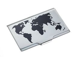 Troika BLACKTITANIUM GLOBAL CONTACTS BUSINESSNAME CARD CASE EMBOSSED WORLD MAP