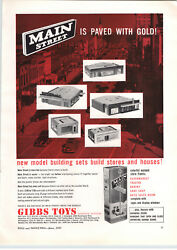1957 Paper Ad Gibbs Toys Toy Play Building Blocks Store Fronts