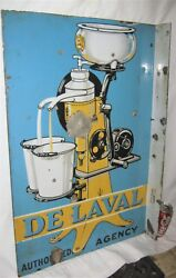 Antique 1920's Usa Porcelain Delaval Milk Bottle Country Dairy Cow Tool Art Sign