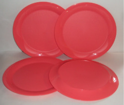Tupperware Open House 11 Round Dinner Plates Set Of 4 Coral Guava Brand New