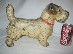 ANTIQUE HUBLEY TOY USA SEALYHAM TERRIER CAST IRON STATUE DOOR DOORSTOP w LABEL