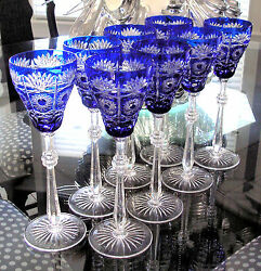 8 Faberge Czar Bellagio Cobalt Blue Cased Cut To Clear 11 Wine Water Goblets