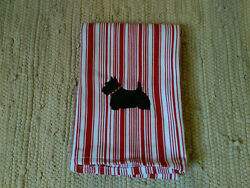 Scottie Scotty Dog Embroidered Red Kitchen Towel RedWhite Stripe