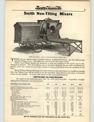 1923 Paper Ad 2 Sided Smith Non Tilting Concrete Mixer Gas Gasoline Engine
