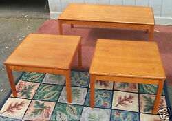 Mid Modern Coffee Table And Two End Tables Wood Asian Oriental Chinese Furniture