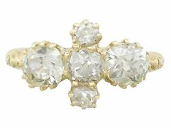 Victorian 3.32 Ct Old Cut Diamond 18k Yellow Gold Dress Ring 1890s Size 8.78
