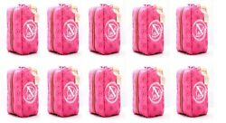 SET OF 10 PCS BRAND NEW VICTORIA SECRET COSMETIC MAKEUP BAG SIGNATURE STRIPES