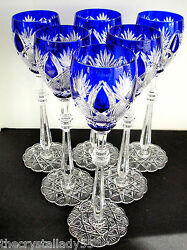 6 Faberge Czar Imperial Cobalt Blue Cased Cut To Clear 10 5/8 Wine Goblets
