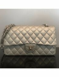 CHANEL Classic Double Flap Perforated Silver Metallic Lambskin Bag