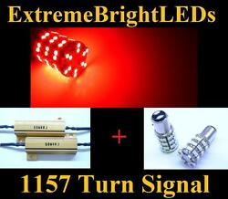 Two Red 1157 2357 60-smd Led Turn Signal Lights + 2 Load Resistors